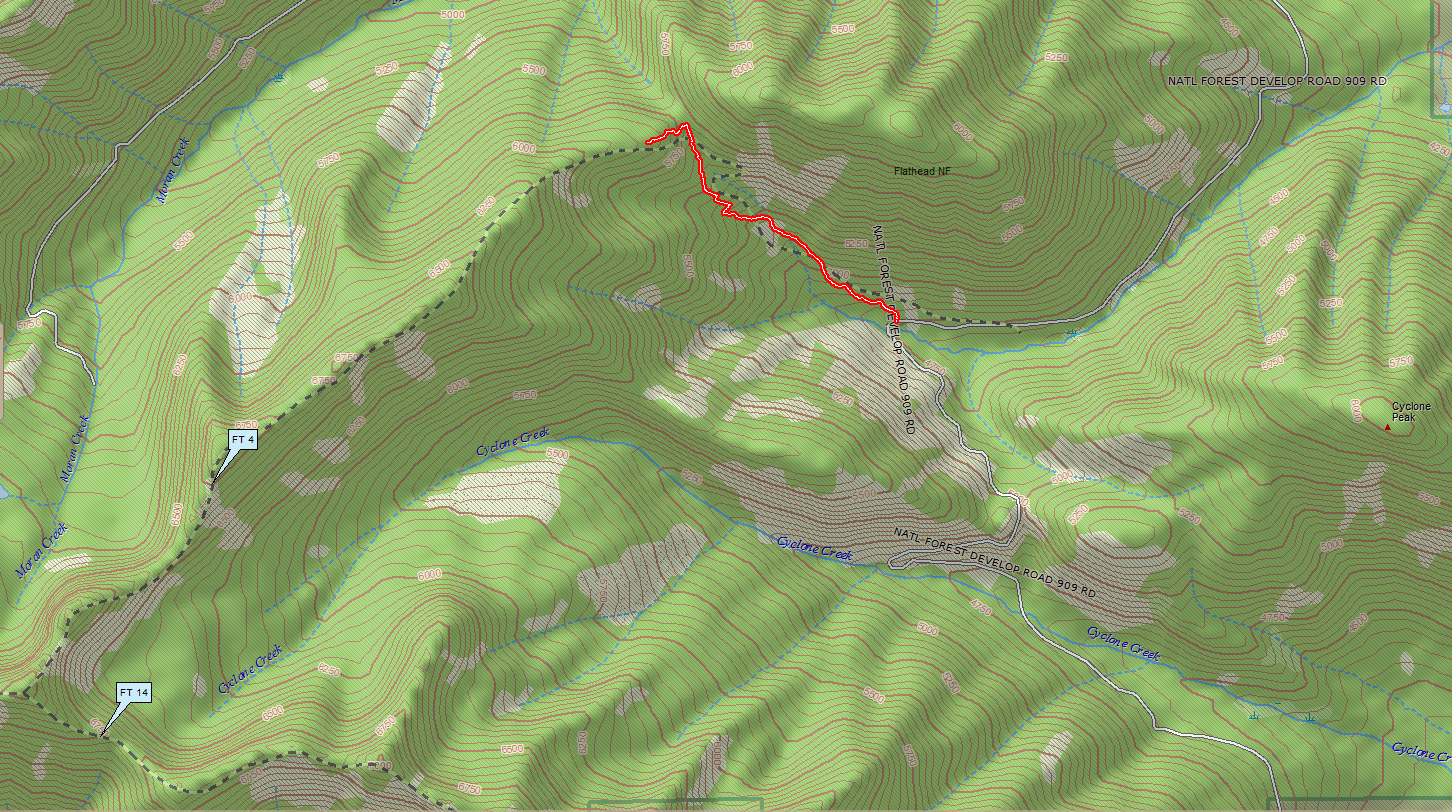Trail 4 track from 909 to ridge top, in context