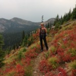 Betsy and fall foliage on Whitefish Divide Trail