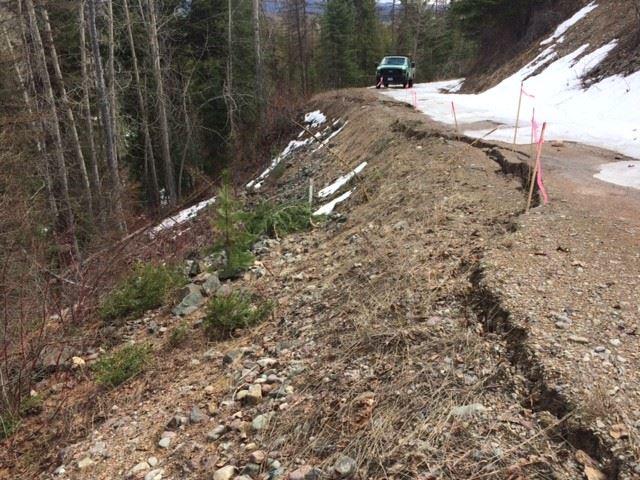 Hay Creek Road slump, April 2017