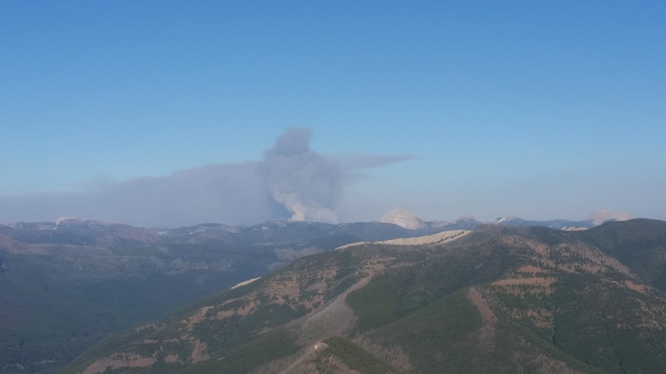 Scalp Fire from Spotted Bear LO, Aug 27, 2017, 1830MDT - courtesy of Heather Welch